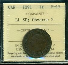 1891 SDLL;Obv.#3, Canada Large Cent, Victoria, ICCS Certified F-15
