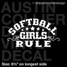 "6.5"" SOFTBALL GIRLS RULE vinyl decal car window laptop sticker - team gift"