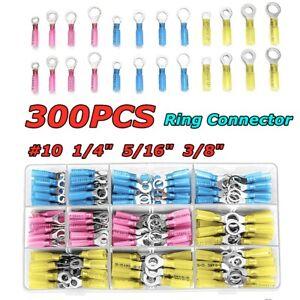 300PCS Heat Shrink Electrical Wire Connectors 10-22 Ring Crimp Terminals
