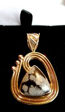 Medium Sized Funky Sterling Silver Snow Flake Obsidian Two-Tone Pendant