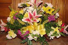 Top Headstone Cemetery Tombstone Saddle Rubrum Stargazer Lilies Silk Flowers