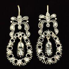 Georgian Rose Cut Diamond 15K Gold Silver Earrings