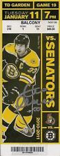 Zdeno Chara Boston Bruins Signed Autographed 2011 Cup Season Vs Senators Ticket