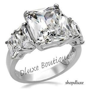 9.50 Ct Radiant Cut CZ Stainless Steel Engagement Ring Band Women's Size 5-10