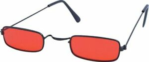 Mens Mod 60s RED Square Rectangle Sunglasses Glasses Sixties McGuinn Marriott HB