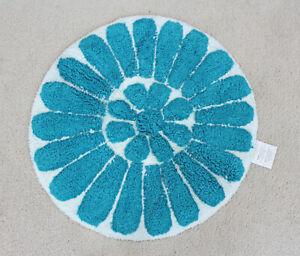 """NEW 24"""" Round Bath Rug Bursting Flower Aqua Blue"""