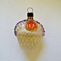 """Vintage German Blown Glass Embossed Fruit Basket Christmas Ornament 2.5"""" Germany"""