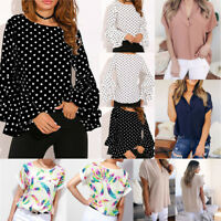 Chic Women's Bell Sleeve Loose Polka Dot Shirt Ladies Casual Blouse Lace Tops