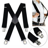 50mm Unisex Mens Men Braces Plain Black Wide & Heavy Duty Suspenders Adjustable.