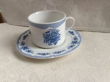 """""""Floral Toile Blue """" - American Atelier - Cup & Saucer -./"""