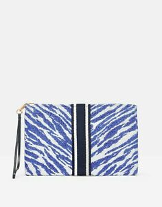 Joules Womens Mila Printed Clutch With Ribbon Applique - Blue Zebra - One Size