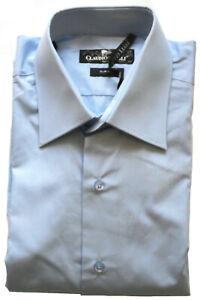 Men's Plain Shirt Sky Blue Slim Long Sleeve Double Cuff Size: M, L Claudio Lugli