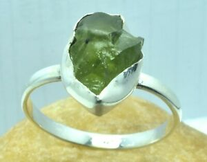 Natural Peridot 925 Sterling silver, Unique Handmade Jewelry Ring size 9 DKU-100