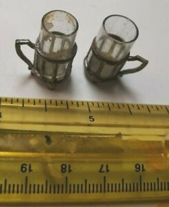 2 VINTAGE VICTORIAN MINIATURE DOLLHOUSE DOLL SOFT METAL GLASS CUPS & HOLDERS LOT