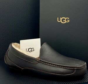 NEW UGG ASCOT CHINA TEA LEATHER CASUAL MOCCASIN SLIPPERS SIZE US 12