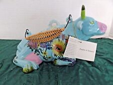 "COW PARADE ""FRUITS OF SUMMER"" COW TEAPOT 2000 WICKER&FLOWERS  11"" TAG USED"