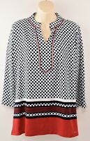 TOMMY HILFIGER Women's Polka Dot Tunic Top, Red/Turquoise/Black, sizes XS S M