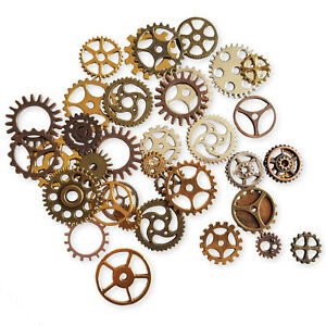 20pcs Mix Metal Cogs, Gears, Steampunk, Clockwork Craft Embellishment Toppers