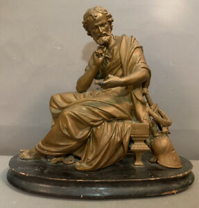 LG Antique 19thC Victorian GREEK PHILOSOPHER Spelter SCULPTURE Old MANTEL STATUE