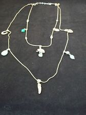 """Chico's 32"""" Silver Tone Good Luck Charm Double Strand Necklace"""