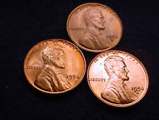 1954-P&D&S LINCOLN CENTS 3 GREAT BU COINS!  #22**