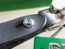 portachiavi grigio titanio con cristallo Swarovski Seminole leather keychain