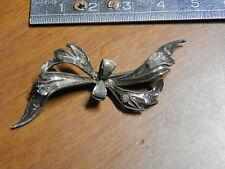 Vecchia spilla gioiello d epoca in argento 925 con brillantini Fiocco Nastrino