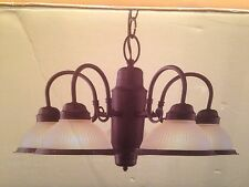 New Electric 334549 5-Light Chandelier with Sienna Finish Frosted Ribbed Shade