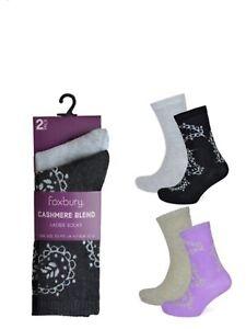 2 Pack Ladies Cashmere Blend socks size 4-7 black grey lilac oatmeal