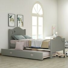 Twin Size Captain Bed Solid Wood Twin Bed with Trundle Heart Designed Bed Frame
