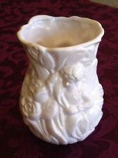 """Beautiful Unique White Ceramic 7"""" Vase Depicting Fairy with Flowers"""