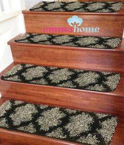 15pc Soft Shaggy NON-SLIP MACHINE WASHABLE Stair Treads Mats, Taber Grey/Black