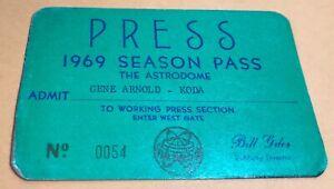 1969 Houston Astros Pass Ticket Staff Record 1123 K/Bouton/Dieker/Griffin/Wilson