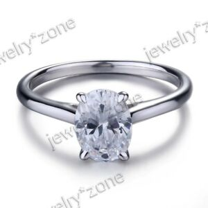 Stylish Jewelry Cubic Zirconia 2.2ct Solid 14K White Gold Engagement Party Ring