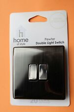 Homebase Screwless Double Light Switch 10AX Pewter Die Cast 2G 2way