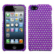 For iPhone 5 5S SE Crystal Diamond BLING Hard Case Snap Phone Cover Purple Dots