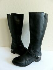 UGG Australia Channing Black Leather Harness Knee High Riding Boots Size 8 EU 39