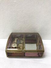 Sankyo Japan Humming Bird Flower Musical Jewelry Box Glass Gold Trim Pink