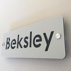 Rectangular House Name Sign - Light Grey & Dark Grey Mat Finish