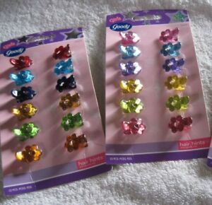 12 Goody Girls Pastel Color Plastic Flower Tiny Sectioning Hair Clips Teeth Grip