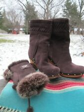 UGG Australia Womens 5 Annzaliza Brown Leather Boots Clogs & Fingerless Gloves