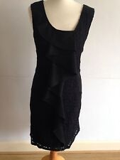 Beautiful Fransa Black Knee Length Dress, Size 14, Very Good Condition
