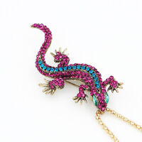 Betsey Johnson Women's Crystal Gecko Lizard Pendant Chain Necklace/Brooch Pin