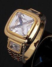Popular  Size 11 Luxury White Topaz 18K Gold Filled Men's Fashion Wedding Ring