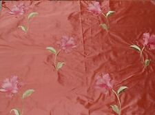 Silk Taffeta Embroidered Brocade Fabric Large Flowers Lilly Red Pink 1 YD