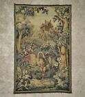 19th c. French Aubusson Wall Tapestry Antique Bird Frog Flowers Floral Verdure
