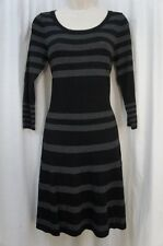 Studio M Dress Sz XS Black Dove Gray Solid Striped 3/4 Sleeve Casual Party Dress