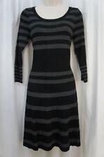 Studio M Dress Sz XS Black Dove Gray Solid Striped 3/4 Sleeve Casual Party Dress