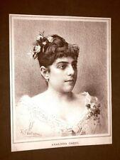 Raro ritratto di Adalgisa Gabbi di Parma nel 1887 Soprano Teatro
