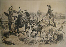DEMOCRATIC TEAM HAYES & TILDEN OX & ASS POLITICAL EDITORIAL HARPER'S WEEKLY 1876